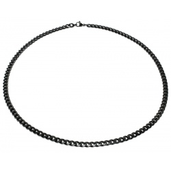 Black curbed steel necklace 5mm