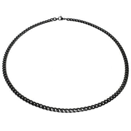 Sort curbed stål halskjede 5mm