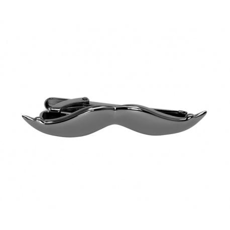 Black mustache tie clip