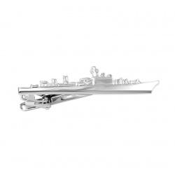 Silver ship tie clip