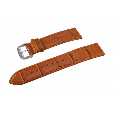 Brown leather watchstrap croc 22mm