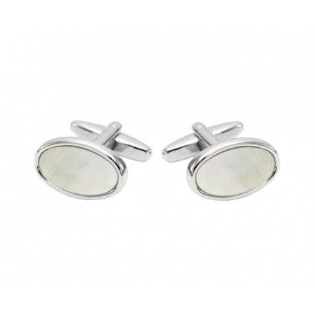 Mother of pearl silvercolored cufflinks