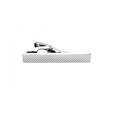 Short tie clip with diagonal stripes