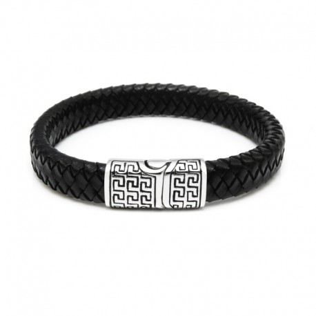 Meander leather men's bracelet