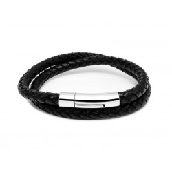 Duo bracelet braided leather and steel