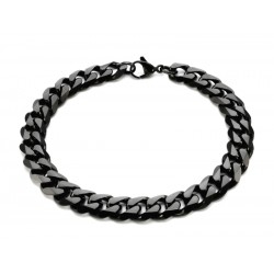 Black wide stainless steel bracelet