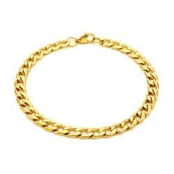 Gold cuban steel bracelet 6mm