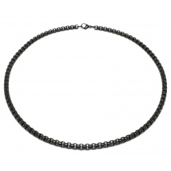 Black round stainless steel necklace 5mm