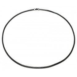 Thin black stainless steel necklace 3mm
