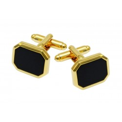 Gold colored black stone cufflinks