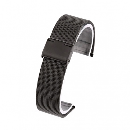 Watch bracelet black steel mesh 20 mm