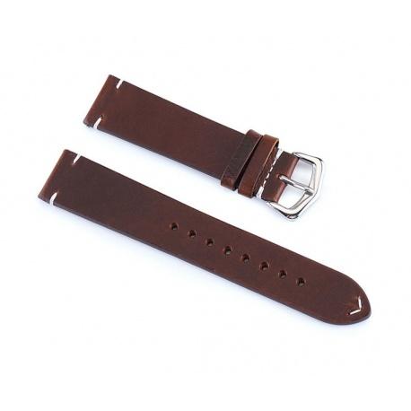 Dark brown watch leatherstrap 22 mm