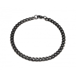 Black steel bracelet curbed 5 mm