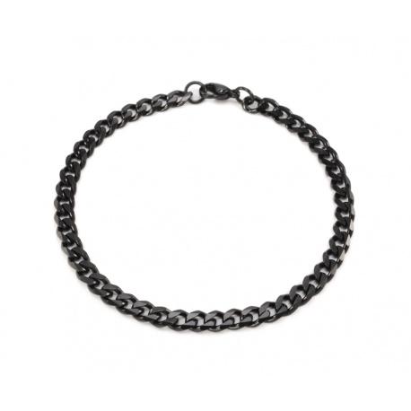 Black steel bracelet curbed 5 mm