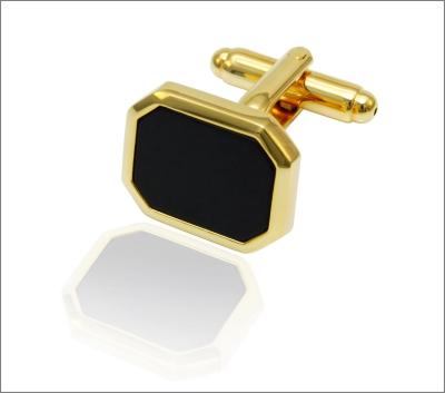 gull mansjettknapp åttekantet sort sten