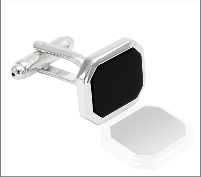 mansjettknapp sort sten sølv