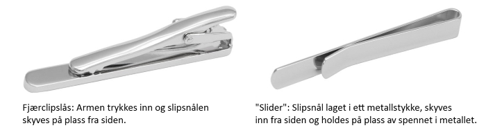 slipsnål typer slider fjærclips